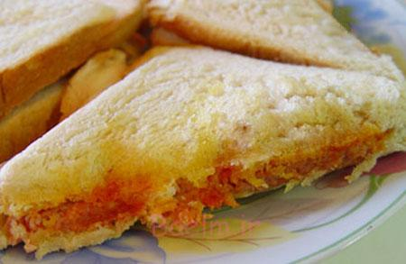 درست کردن ساندویچ نان تست با نخود,پخت اسنک نخود