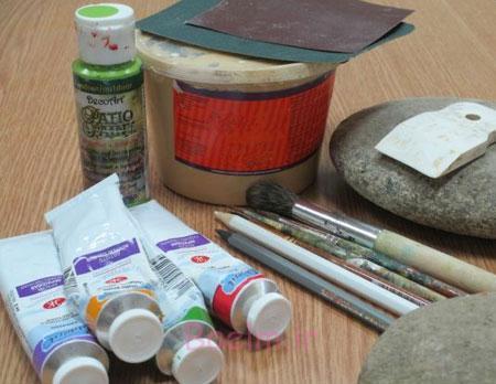 آموزش تصویری نقاشی روی سنگ,نحوه نقاشی روی سنگ