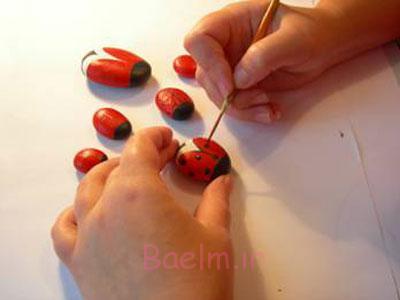 نقاشی سنگ به شکل کفشدوزک,آموزش نقاشی روی سنگ