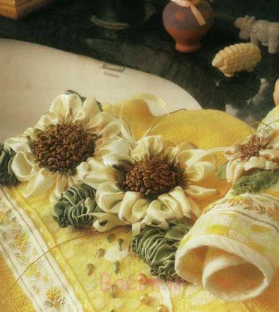 آموزش روبان دوزی , روبان دوزی گل آفتابگردان