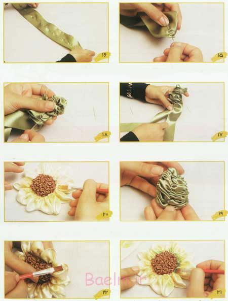 آموزش تصویری | لوازم موردنیاز و روش کار روبان دوزی گل آفتابگردان