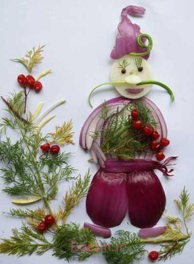 ایده سفره آرایی   عکسهای تزیین پیاز و سبزیجات به شکل های بسیار زیبا و فانتزی