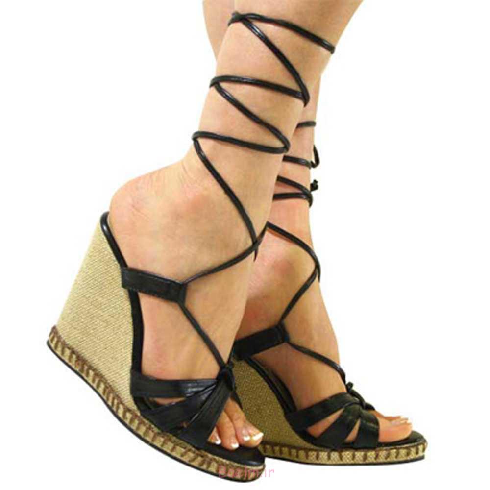 1 زیبا زنان از strappy گوه پاشنه کفش