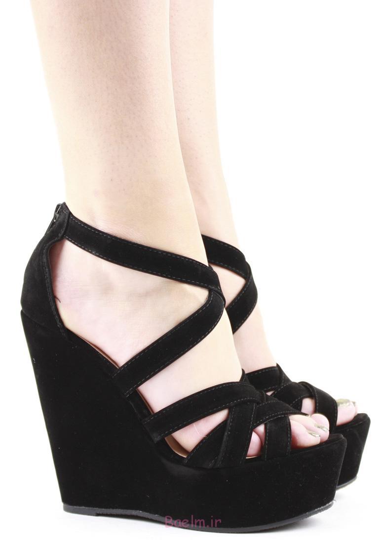 2 رنگ سیاه و سفید زنان از strappy گوه پاشنه کفش