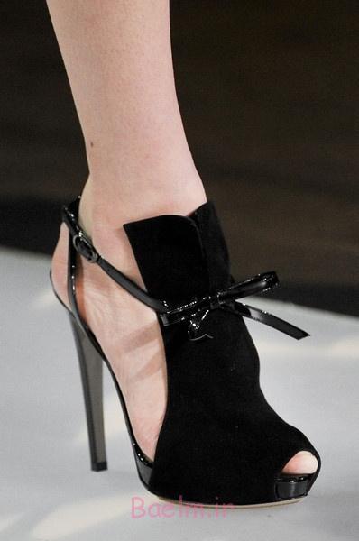 3 کفش مخمل سیاه و سفید با توری