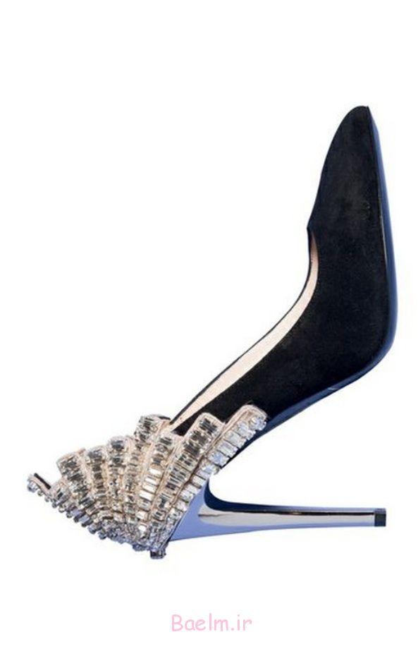 مخمل سیاه و سفید با کریستال کفش پاشنه کار
