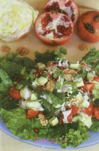 آموزش انواع سالاد   مواد لازم و طرز تهیه سالاد انار و سبزیجات