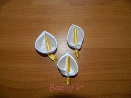 آموزش مرحله ای درست کردن گل شیپوری با روبان,آموزش ساخت گل روبانی