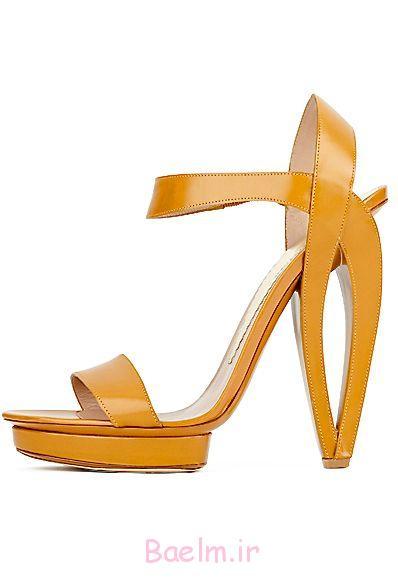 زرد کفش چرم پاشنه های آرمانی