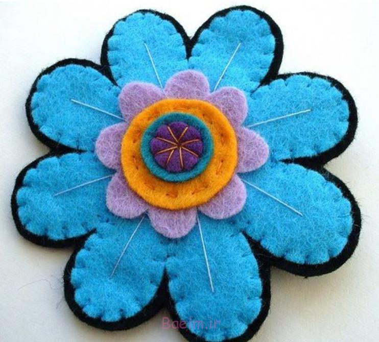 آموزش تصویری درست کردن رومیزی نمدی به شکل گل