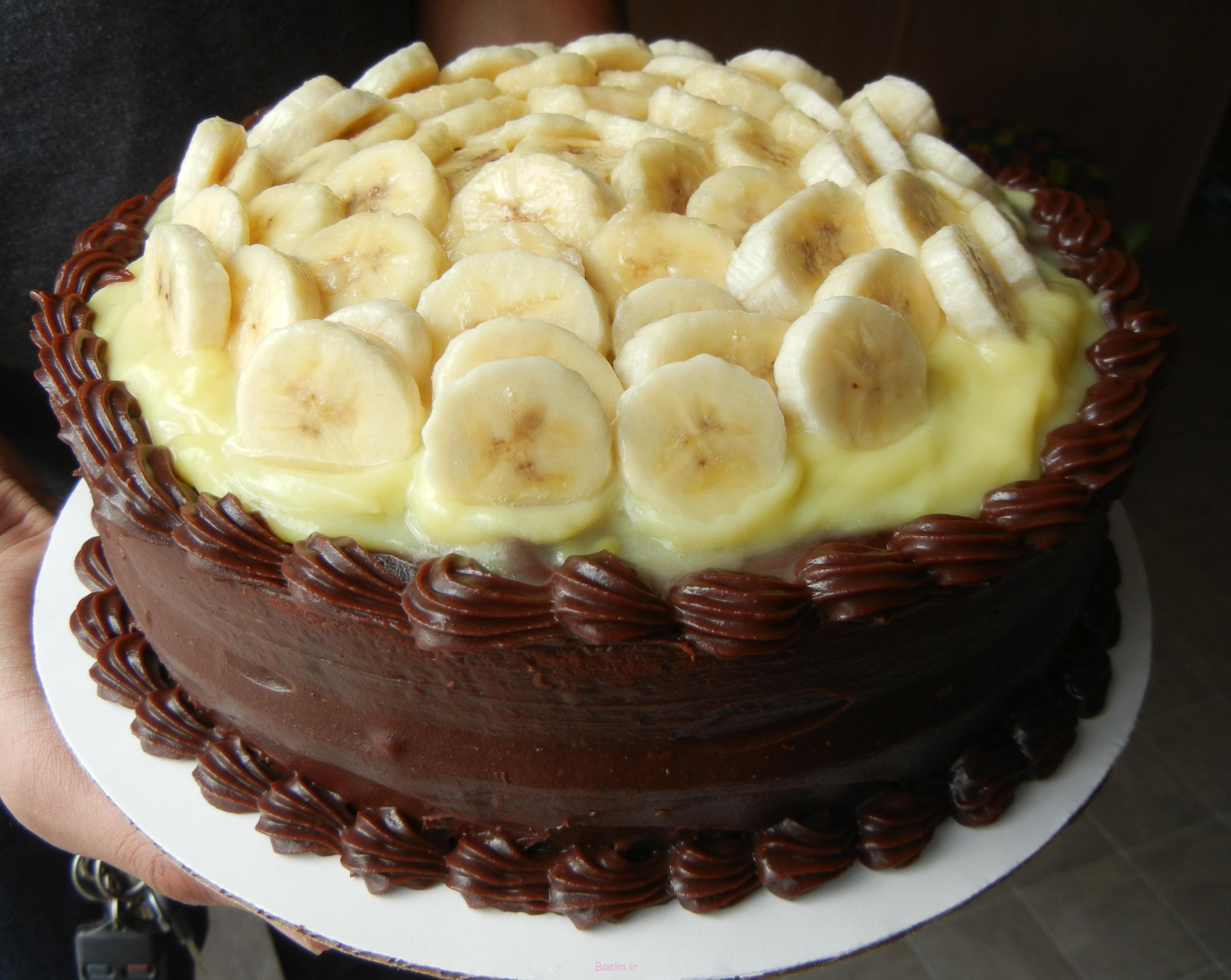 عکس تزیین کیک با موز و میوه،تزئین کیک با موز،کیک موزی • همراه با ...
