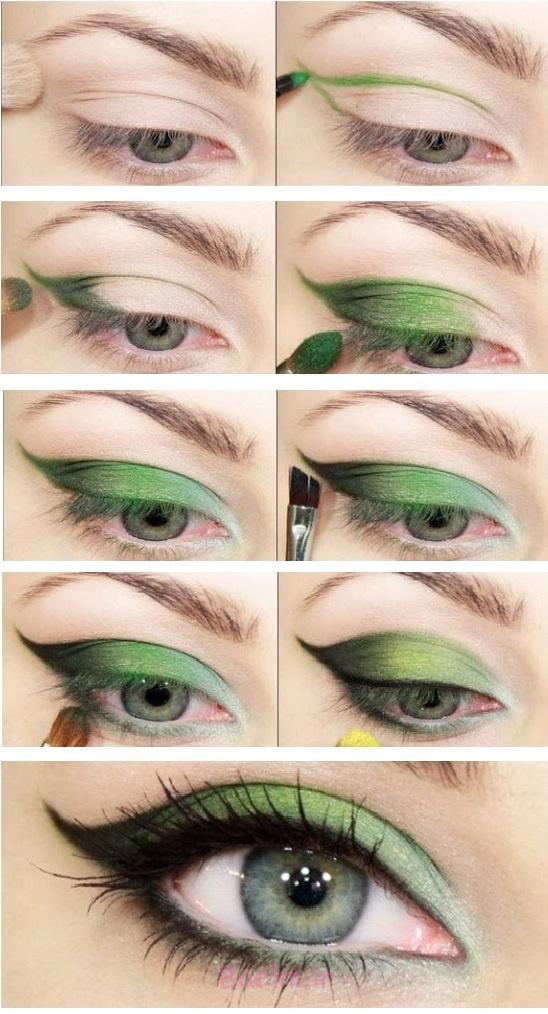 آموزش تصویری | آموزش آرایش چشم با سایه سبز و بنفش یاسمنی (جذاب و زیبا)