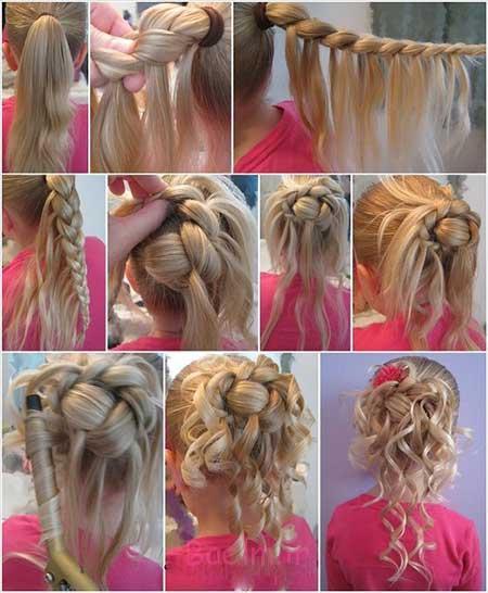 آموزش تصویری بافت موی زنانه و دخترانه مجلسی