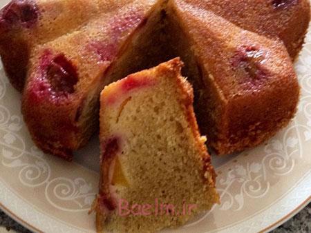 طرز تهیه کیک آلو و هلو,کیک آلو و هلو وارونه