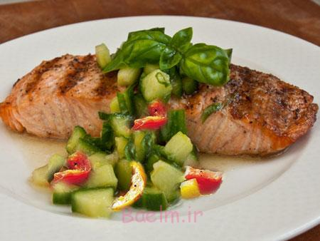 آموزش پخت انواع ماهی   مواد لازم و طرز تهیه ماهی سالمون با چاشنی ریحان