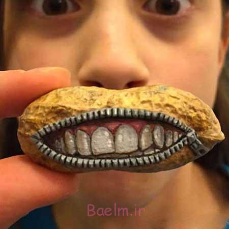 دیدنیهای جالب | عکسهای خنده دار از هنرنمایی روی بادام زمینی