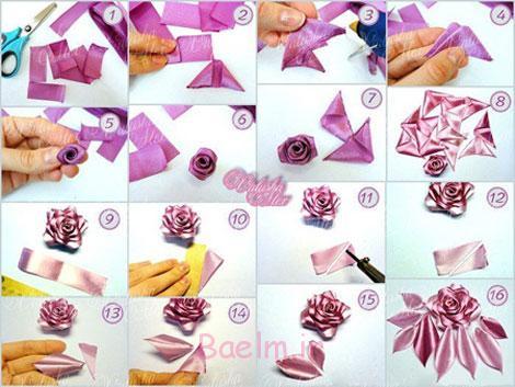 مدل های درست کردن گل با روبان,آموزش تصویری ساخت گل روبانی