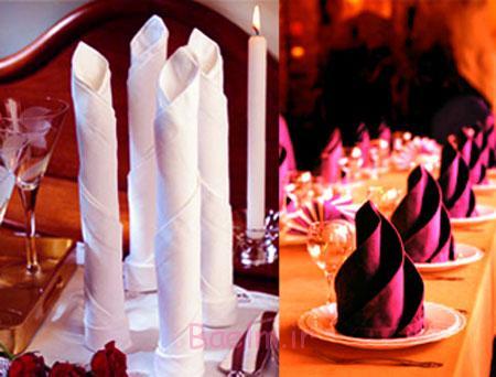 تزیین دستمال سفره به شکل گل, تزیین ساده دستمال سفره