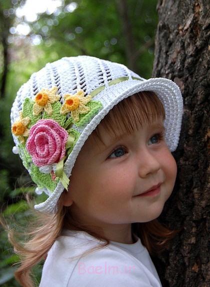 1 کلاه قلاب دوزی سفید برای دختران