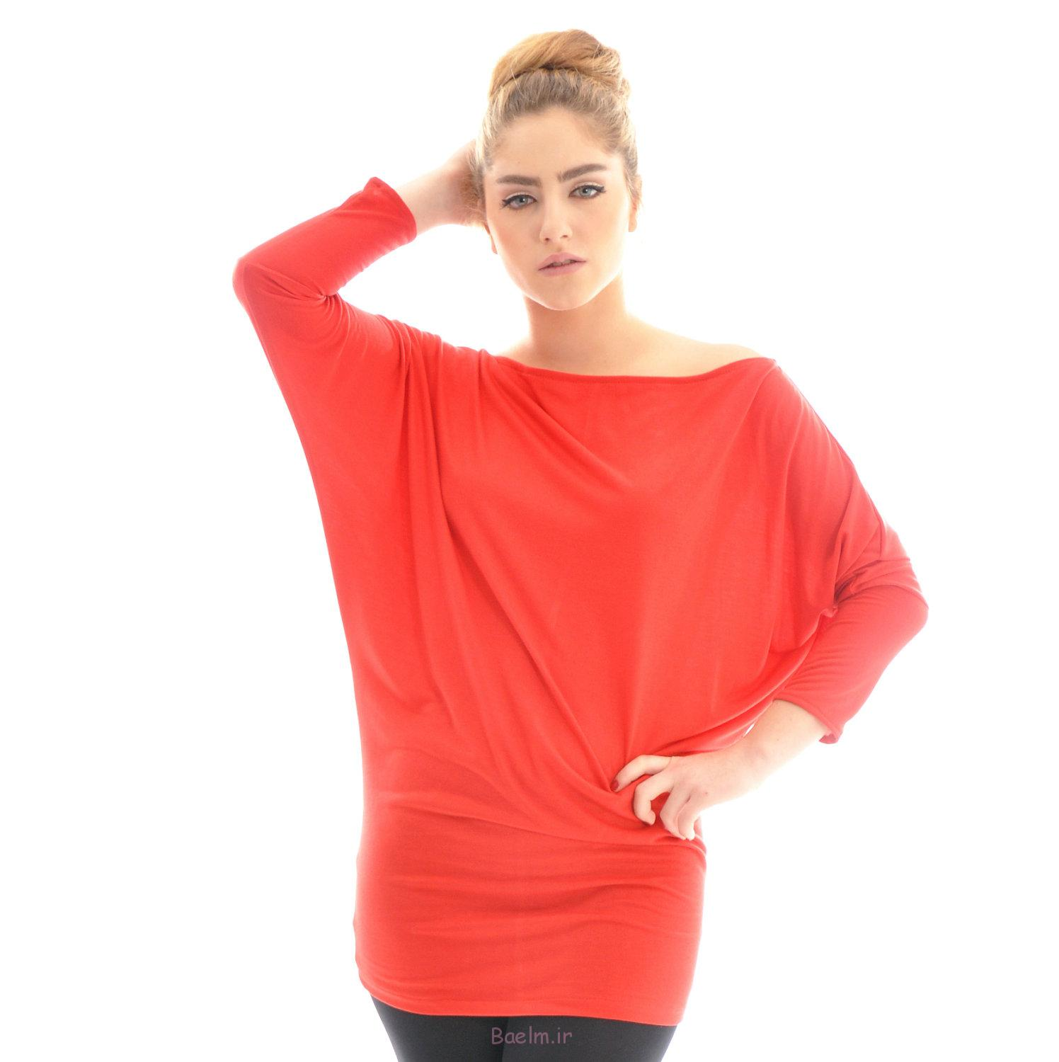 2 red color blouse 2014 oversized for women