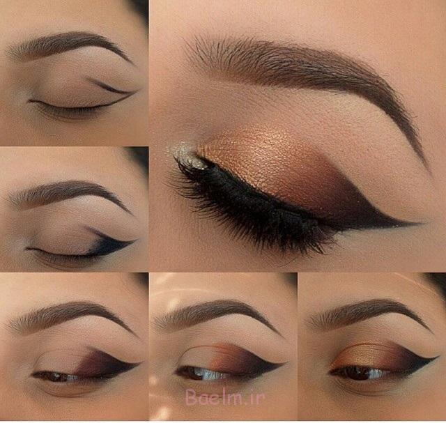 آموزش تصویری   آموزش آرایش چشم با سایه تیره و قهوه ای بسیار زیبا (سری 2)