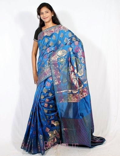 blue stylish silk saree