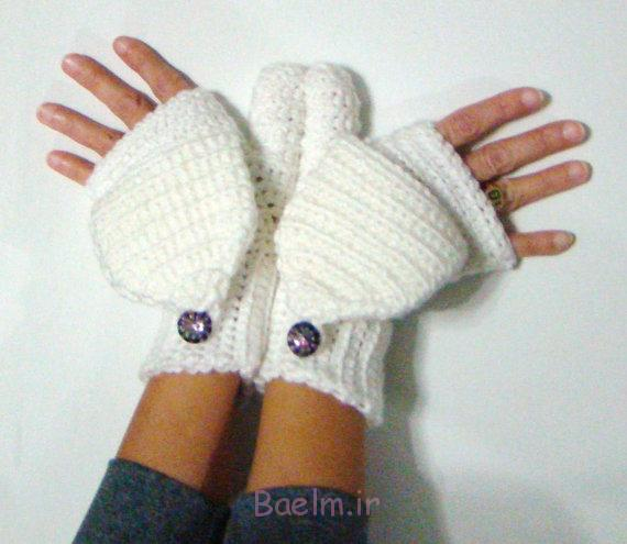 collection of white fingerless crochet mittens