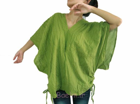 green oversized cotton long blouse new year collection
