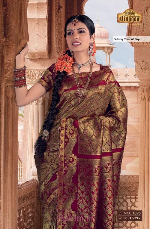 mehroon golden silk saree