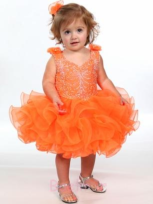 orange colour flower girl dress
