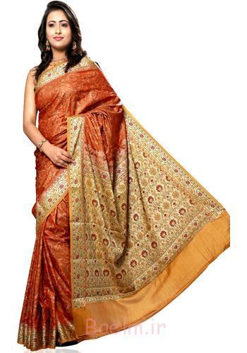 orange stylish saree