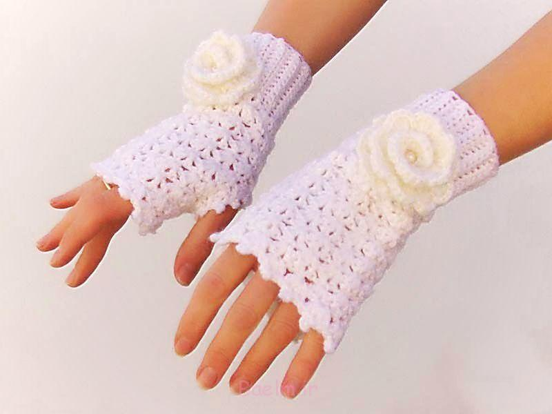 popular white fingerless crochet mittens