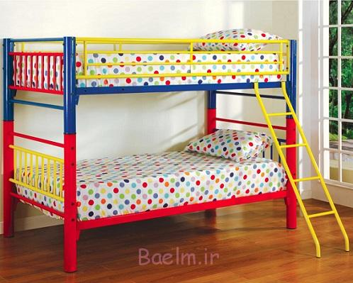 آبی قرمز و زرد فلزی تخت تختخواب سفری برای کودکان و نوجوانان