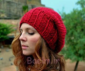 کلاه قلاب دوزی قرمز برای دختران