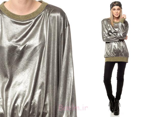 silver oversized cotton long blouse new collection