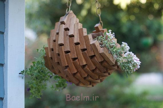 stylish wood hanging planters