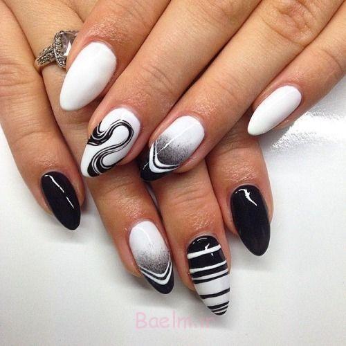 ناخن هنر طراحی سیاه و سفید برای زنان