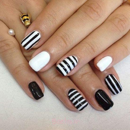 هنر طراحی ناخن سیاه و سفید