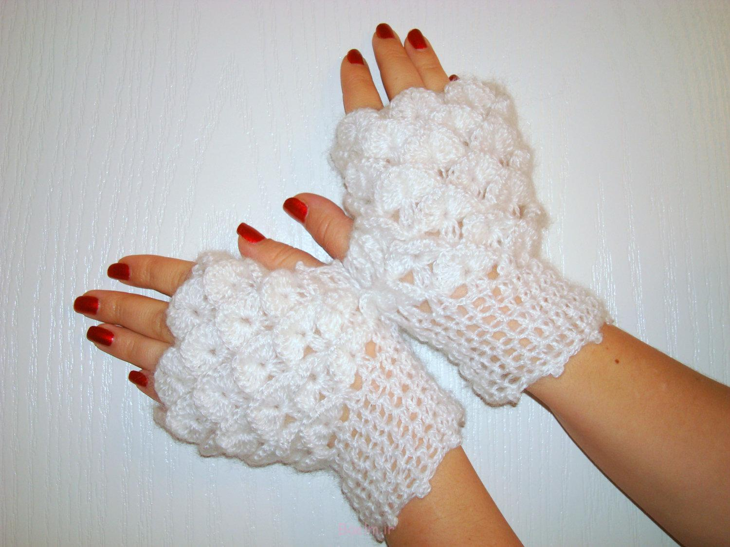 white fingerless crochet mittens collection