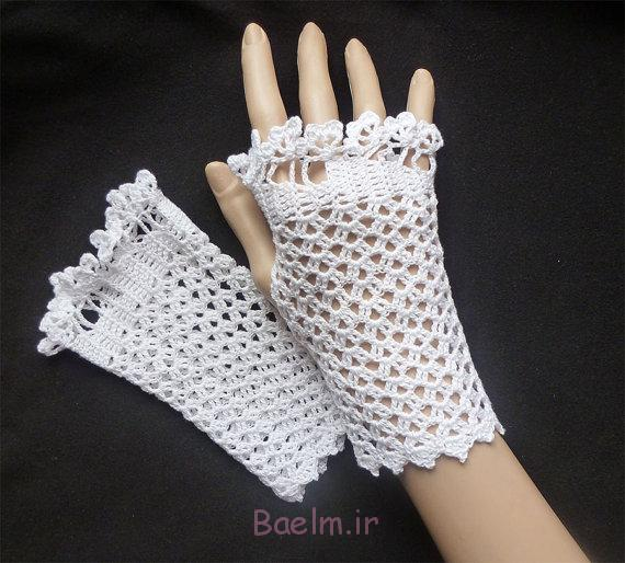 white fingerless crochet mittens for girls