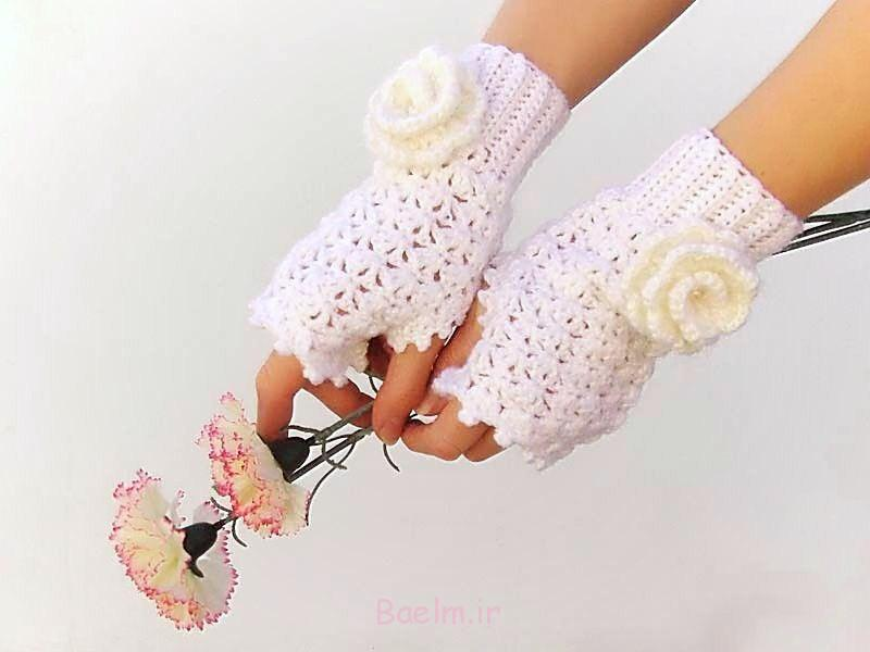 white fingerless crochet mittens