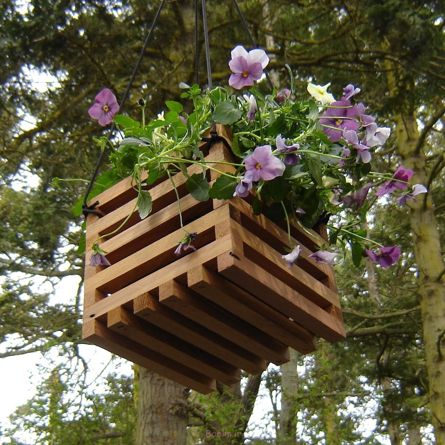 wood hanging planters design
