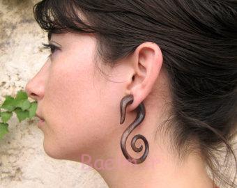 3 women swan wooden gauge earrings