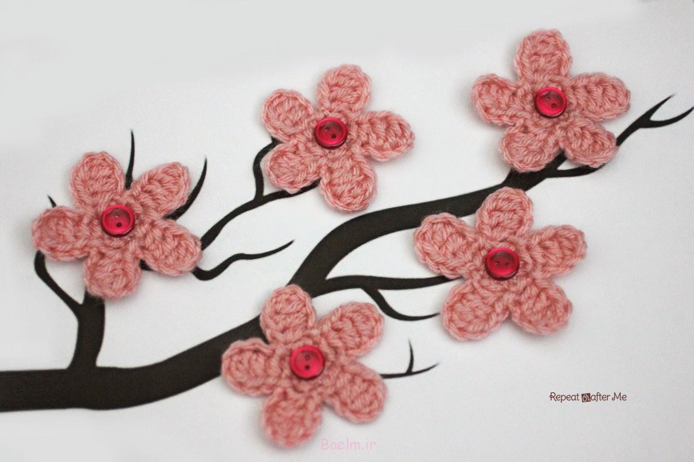 شکوفه های گیلاس گل قلاب دوزی قلاب دوزی freePattern شگفت انگیز DIY گیلاس شکوفه گل با الگو رایگان wonderfuldiy4