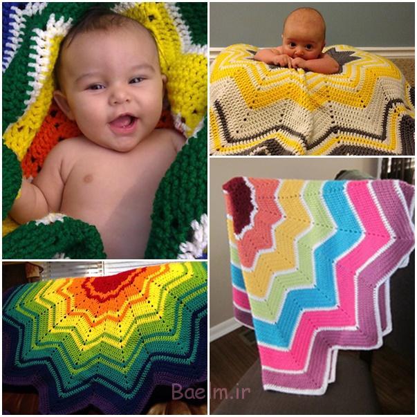 wonderfuldiy قلاب دوزی رنگین کمان موج دار شدن بچه Blanket--