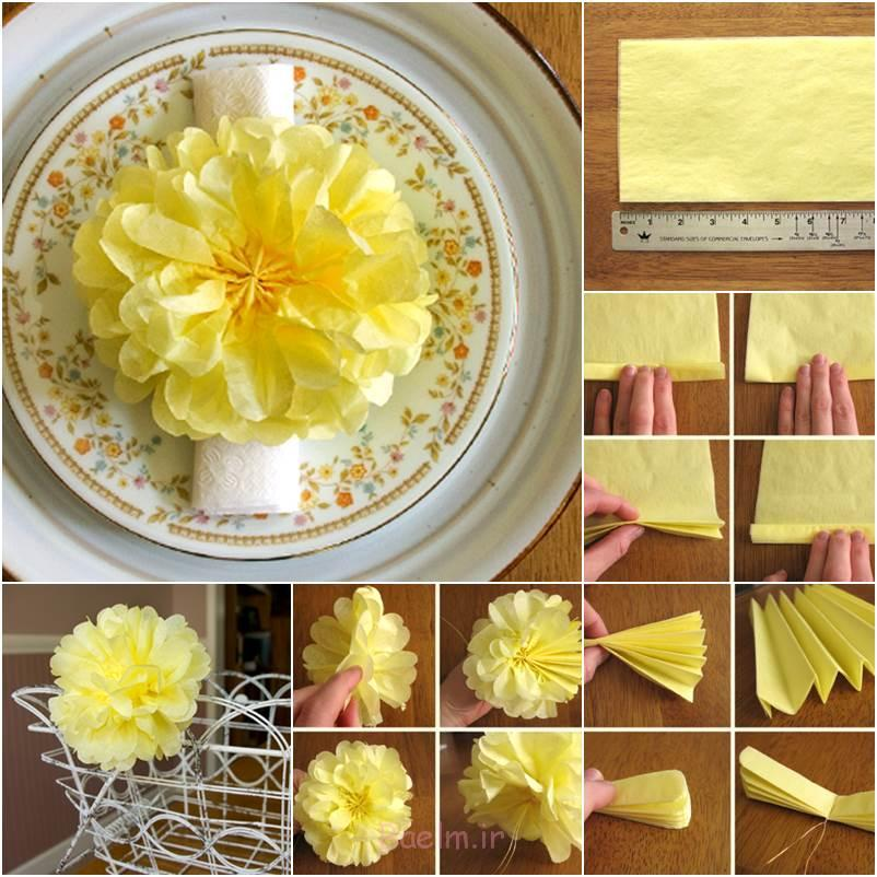 DIY بافت زیبا POM POM کاغذ گل بافت DIY شگفت انگیز کاغذ Pom Pom های گل زینتی