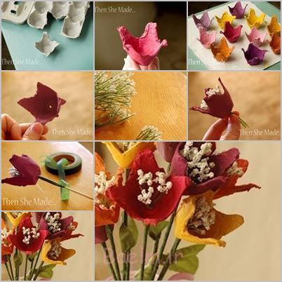 دسته گل از کارتن تخم مرغ F DIY شگفت انگیز زیبا دسته گل از تخم کارتن