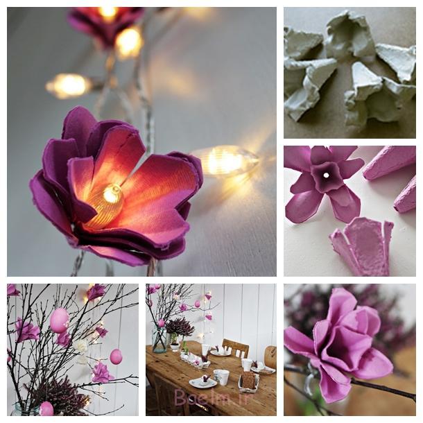گل نور از تخم مرغ کارتن F DIY شگفت انگیز روشن دسته گل با نوعی پارچه ابریشمی گلبرگ