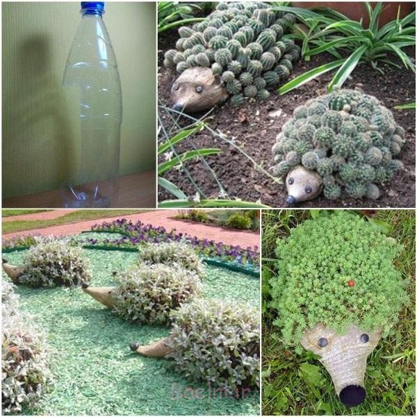 خارپشت زمینی از بطری های پلاستیکی F شگفت انگیز DIY خارپشت بطری های پلاستیکی برای باغ خود را