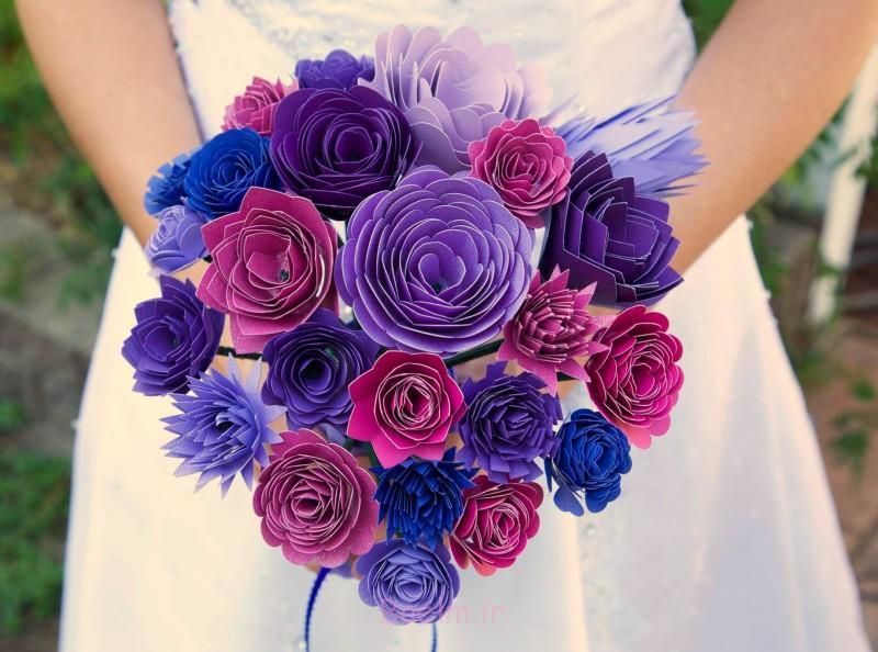 مقاله دسته گل 1 شگفت انگیز DIY زرق و برق دار کاغذ دسته گل برای عروسی